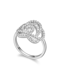 Softshell white diamond decorated hollow out rose design zircon Crystal Rings