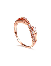 Discount white & rose gold diamond decorated crossover design zircon Crystal Rings