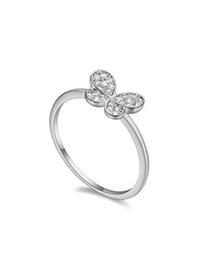 Custom white diamond decorated butterfly shape design zircon Crystal Rings