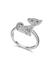 Fall white diamond decorated cat shape design zircon Crystal Rings