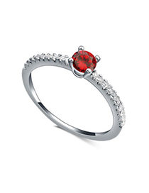 Personaliz red diamond decorated simple design zircon Crystal Rings