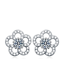 Wishbone white gemstone decorated flower design zircon Crystal Earrings