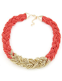 Woolrich watermelon red beads weave simple design alloy Beaded Necklaces