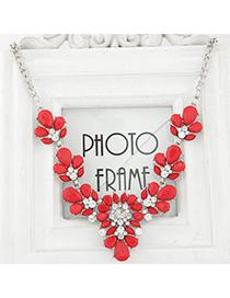 Vera red diamond decorated waterdrop shape design alloy Korean Necklaces