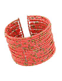 Online watermelon red beads decorated multi-layer design alloy Fashion Bangles