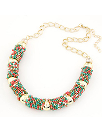 Hardy multicolor beads decorated U-shape design alloy Chains