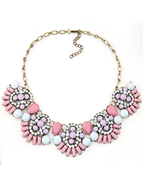 Attractive pink diamond decorated fan shape design alloy Bib Necklaces