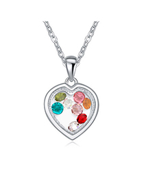 Marvelous Multicolor Diamond Decorated Heart Pendant Design Alloy Crystal Necklaces