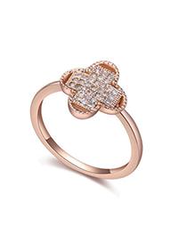 Correspond White & Rose Gold Diamond Decorated Clover Shape Design Zircon Crystal Rings
