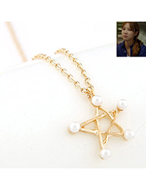 Infinity Gold Color Pearl Decorated Star Pendant Design Alloy Korean Necklaces