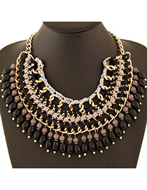 Vintage Black Round Shape Pendant Decorated Simple Design Alloy Bib Necklaces
