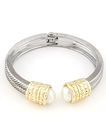 Cardboard Silver Color Pearl Decorated Simple Design Alloy Fashion Bangles