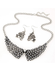 Attractive Gun Black Diamond Decorated Wings Shape Design Alloy Jewelry Sets