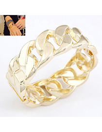 Authentic Gold Color Interlocking Simple Design Alloy Fashion Bangles