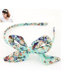 Fantastic Blue Bowknot Decorated Flower Pattern Design Fabric Hair Band Hair Hoop