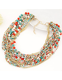 Bohemia Blue Bowknot&beads Decorated Hand-woven Necklace