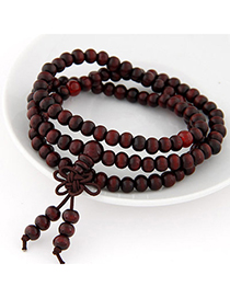 Colorful Claret-red Beads Decorated Multilayer Design Wood Korean Fashion Bracelet