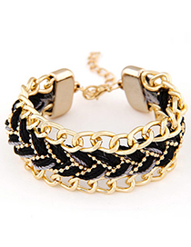 Satchel Black Rope Weave Simple Design Alloy Korean Fashion Bracelet