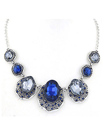 Rolling Champagne Gray Gemstone Decorated Oval Shape Design Alloy Korean Necklaces