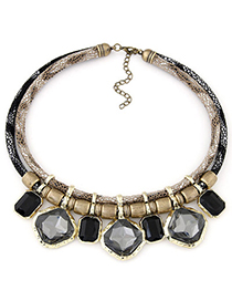 Winding Champagne Gray Gemstone Decorated Simple Alloy Fashion Necklaces