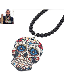 Invicta Multicolor Flower Pattern Skull Shape Pendant Design Acrylic Bib Necklaces