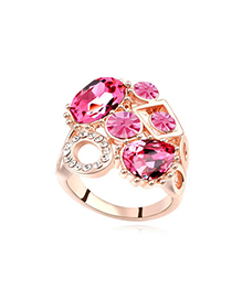 Twilight Plum Red & Rose Gold Diamond Decorated Geometrical Shape Design Alloy Crystal Rings