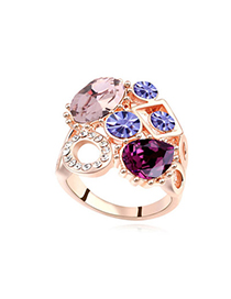 Colorful Purple & Rose Gold Diamond Decorated Geometrical Shape Design Alloy Crystal Rings
