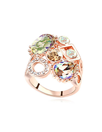 Photograph Glow Green & Rose Gold Diamond Decorated Geometrical Shape Design Alloy Crystal Rings