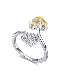 Beauteous Glow Green Diamond Decorated Heart Shape Design Alloy Crystal Rings