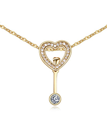 Autism White & Champagne Gold Diamond Decorated Heart Shape Pendant Design
