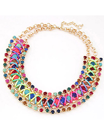 Exaggerated Gold Color Hollow Out Triangle Decorated Short Chain Necklace
