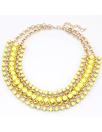 Hydraulic Yellow Gemstone Decorated Multilayer Weave Design Alloy Bib Necklaces