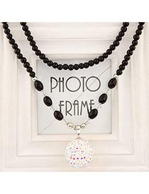Tanzanite White Diamond Decorated Round Pendant Design Alloy Beaded Necklaces
