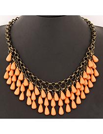 Korean Orange Waterdrop Shape Decorated Double Layer Design Alloy Korean Necklaces