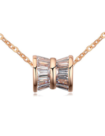 Peridot White & Rose Gold Shaft Shape Pendant Simple Design Zircon Crystal Necklaces