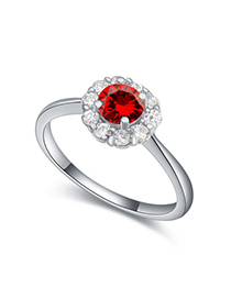 Facial Garnet Red Diamond Decorated Flower Design Zircon Crystal Rings