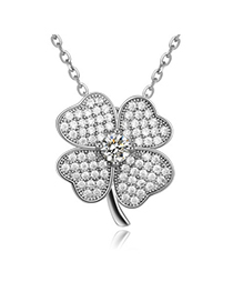 Summer White Diamond Decorated Clover Pendant Design Zircon Crystal Necklaces