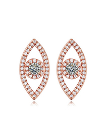 Sequined White & Rose Gold Diamond Decorated Oval Shape Design Zircon Crystal Earrings