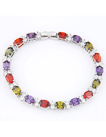 Fashion Multicolor Gemstone Decorated Simple Design Zircon Crystal Bracelets