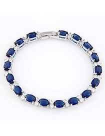 Quilted Navy Blue Gemstone Decorated Simple Design Zircon Crystal Bracelets