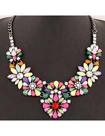 Automatic White Diamond Decorated Waterdrop Shape Design Alloy Bib Necklaces
