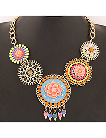 Propper Multicolor Flower Decorated Hollow Out Round Shape Design