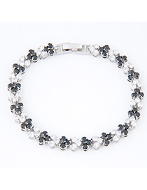 Healing Black Diamond Decorated Round Shape Design Zircon Crystal Bracelets