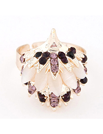 Satchel Purple Diamond Decorated Hedgehog Shape Design Alloy Korean Rings