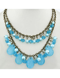 Contempora Blue Waterdrop Shape Decorated Double Layer Design Alloy Chains