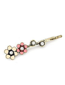 Fashion Pink Pearls&bowknot Decorated Color Matching Hair Pin