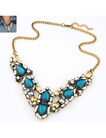 Lace Navy Blue Diamond Decorated Waterdrop Shape Design Alloy Korean Necklaces
