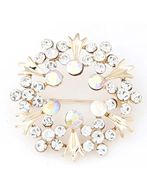 Mustard White Diamond Decorated Flower Shape Design Alloy Korean Brooches