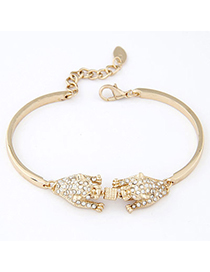 Polaris Gold Color Leopard Decorated Somple Design Alloy Korean Fashion Bracelet