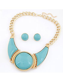 Brown Light Blue Gemstone Decorated Round Shape Design Alloy Jewelry Sets